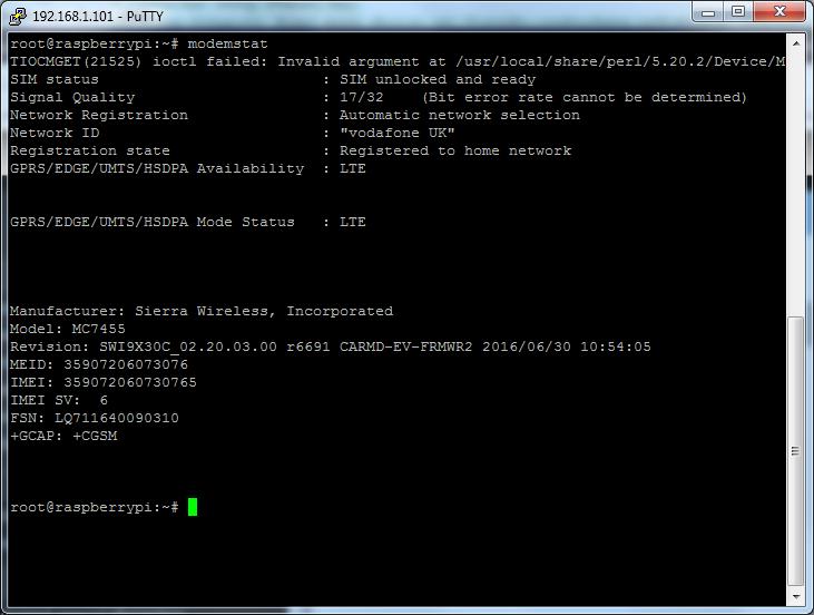 Sierra Wireless MC7455 Modem QMI Raw-IP Configuration