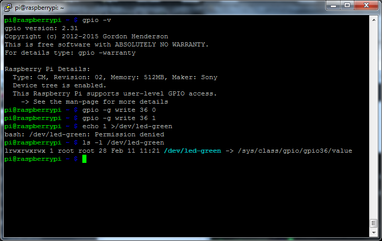 MyPi Industrial Raspberry Pi Command Line GPIO Example Step 2
